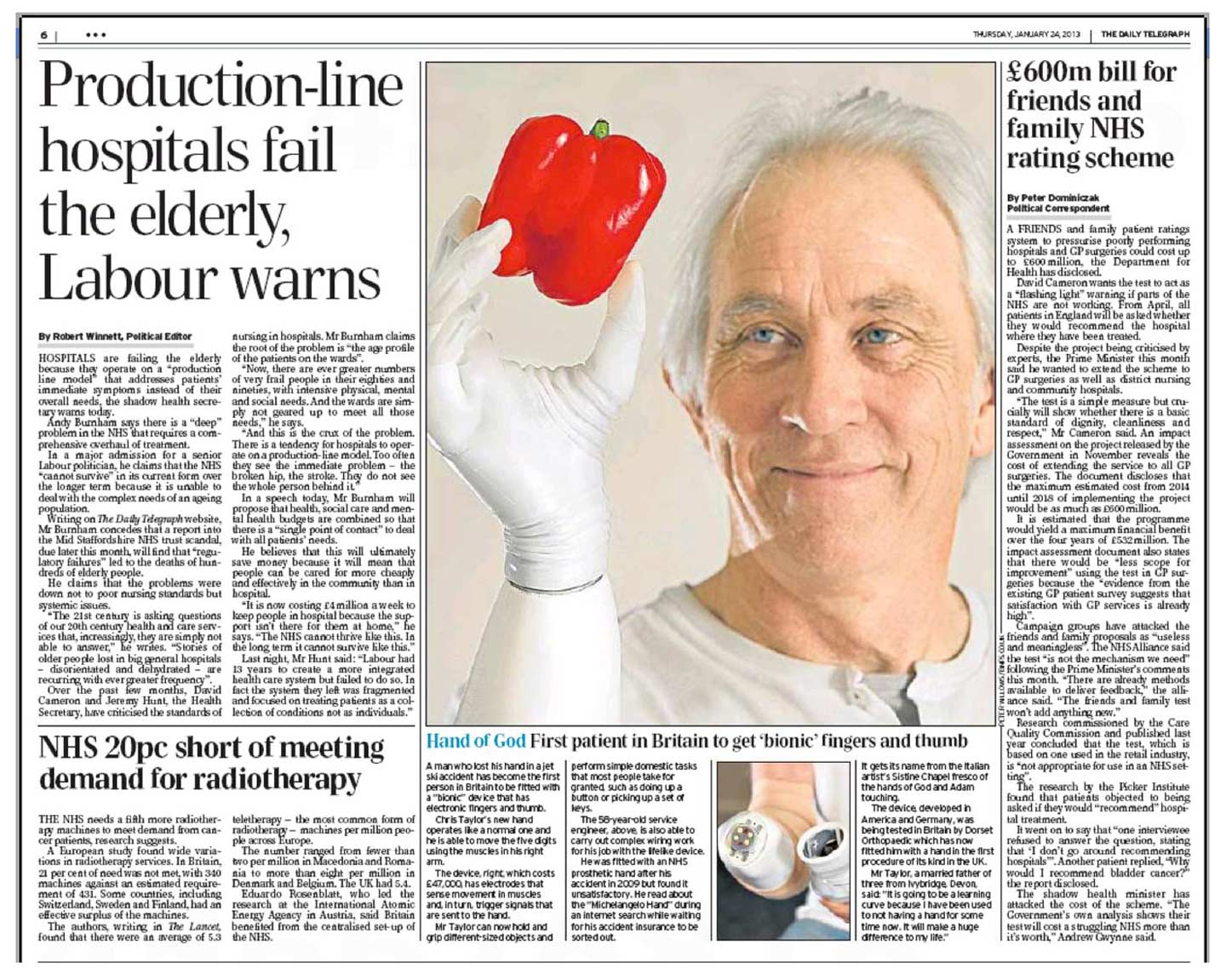 Peter Willows Photographer dorset weddings press & pr Dorset- daily-Telegraph-24-Jan-2013-bionic-hand