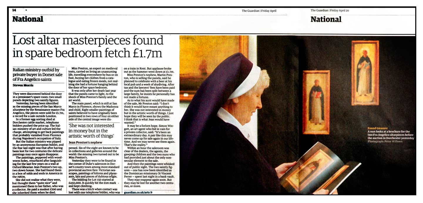 Peter Willows Photographer dorset weddings press & pr guardian-nun-fra-angelico